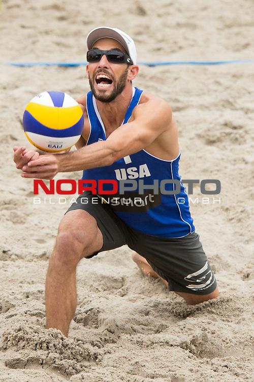 22.06.2014, Berlin, Washingtonplatz<br /> Beachvolleyball, Berlin smart Grand Slam, Halbfinale<br /> <br /> Abwehr Nicholas Lycena (USA)<br /> <br />   Foto &copy; nordphoto / Kurth *** Local Caption ***
