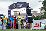 Robbie Fowler tees off the 1st hole during the World Celebrity Pro-Am 2016 Mission Hills China Golf Tournament on 21 October 2016, in Haikou, China. Photo by Weixiang Lim / Power Sport Images