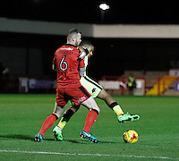 Crawley Town's Mark Connolly fends off Exeter City's Ollie Watkins during the Sky Bet League 2 match between Crawley Town and Exeter City at Broadfield Stadium, Crawley, England on 28 February 2017. Photo by Carlton Myrie / PRiME Media Images.
