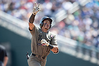 Vanderbilt Commodores third baseman Austin Martin (16) rounds the bases after his second home run of Game 3 of the NCAA College World Series against the Louisville Cardinals on June 16, 2019 at TD Ameritrade Park in Omaha, Nebraska. Vanderbilt defeated Louisville 3-1. (Andrew Woolley/Four Seam Images)
