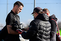 Lincoln City's Jason Shackell signs autographs for fans after arriving at the ground<br /> <br /> Photographer Chris Vaughan/CameraSport<br /> <br /> The EFL Sky Bet League Two - Lincoln City v Stevenage - Saturday 16th February 2019 - Sincil Bank - Lincoln<br /> <br /> World Copyright © 2019 CameraSport. All rights reserved. 43 Linden Ave. Countesthorpe. Leicester. England. LE8 5PG - Tel: +44 (0) 116 277 4147 - admin@camerasport.com - www.camerasport.com