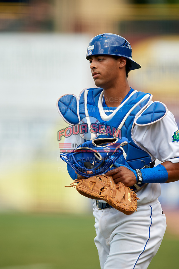 Lexington Legends catcher MJ Melendez (7) during a game against the Rome Braves on May 23, 2018 at Whitaker Bank Ballpark in Lexington, Kentucky.  Rome defeated Lexington 4-1.  (Mike Janes/Four Seam Images)