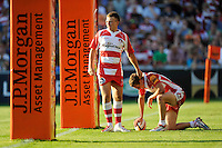 20130801 Copyright onEdition 2013 ©<br /> Free for editorial use image, please credit: onEdition.<br /> <br /> Reece Boughton of Gloucester Rugby 7s (left) congratulates Drew Cheshire of Gloucester Rugby 7s on scoring a try during the J.P. Morgan Asset Management Premiership Rugby 7s Series.<br /> <br /> The J.P. Morgan Asset Management Premiership Rugby 7s Series kicks off for the fourth season on Thursday 1st August with Pool A at Kingsholm, Gloucester with Pool B being played at Franklin's Gardens, Northampton on Friday 2nd August, Pool C at Allianz Park, Saracens home ground, on Saturday 3rd August and the Final being played at The Recreation Ground, Bath on Friday 9th August. The innovative tournament, which involves all 12 Premiership Rugby clubs, offers a fantastic platform for some of the country's finest young athletes to be exposed to the excitement, pressures and skills required to compete at an elite level.<br /> <br /> The 12 Premiership Rugby clubs are divided into three groups for the tournament, with the winner and runner up of each regional event going through to the Final. There are six games each evening, with each match consisting of two 7 minute halves with a 2 minute break at half time.<br /> <br /> For additional images please go to: http://www.w-w-i.com/jp_morgan_premiership_sevens/<br /> <br /> For press contacts contact: Beth Begg at brandRapport on D: +44 (0)20 7932 5813 M: +44 (0)7900 88231 E: BBegg@brand-rapport.com<br /> <br /> If you require a higher resolution image or you have any other onEdition photographic enquiries, please contact onEdition on 0845 900 2 900 or email info@onEdition.com<br /> This image is copyright the onEdition 2013©.<br /> <br /> This image has been supplied by onEdition and must be credited onEdition. The author is asserting his full Moral rights in relation to the publication of this image. Rights for onward transmission of any image or file is not granted or implied. Changing or deleting Copyright information is illegal as specified in the Copyright, Design and Patents Act 1988. If you are in any way