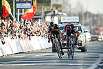 Greg Van Avermaet (BEL) BMC Racing Team outsprints  Philippe Gilbert (BEL) Quick-Step Floors to win the 60th edition of the Record Bank E3 Harelbeke 2017, Flanders, Belgium. 24th March 2017.<br /> Picture: Jim Fryer/BrakeThrough Media | Cyclefile<br /> <br /> <br /> All photos usage must carry mandatory copyright credit (&copy; Cyclefile | Yuzuru Sunada)