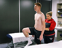 Pictured: Sam Clucas going through a medical with physiotherapist Kate Rees.<br /> Re: Sam Clucas of Hull has signed a contract with Swansea City FC, Fairwood Training Ground, Wales, UK. Tuesday 22 August 2017