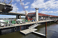 Pearl Harbor Memorial Bridge, New Haven Harbor Crossing Corridor, Interstate 95 in CT. Construction of Connecticut Department of Transportation Contract B as seen on September 9, 2011. New Northbound Span, Progress of the Replacement Bridge. When complete this will be the first Extradosed Bridge in the United States. This view includes Traveling Formwork.
