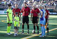 Seattle, WA - Saturday July 23, 2016: Keelin Winters, Kaylyn Kyle, Chris Spivey, Christopher Elliot, Joshua Haimes, Kelsey Harms prior to a regular season National Women's Soccer League (NWSL) match between the Seattle Reign FC and the Orlando Pride at Memorial Stadium.