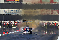Feb. 15, 2013; Pomona, CA, USA; NHRA top fuel dragster driver Brittany Force during qualifying for the Winternationals at Auto Club Raceway at Pomona. Mandatory Credit: Mark J. Rebilas-