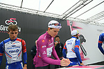 Maglia Ciclamino Arnaud Demare (FRA) Groupama-FDJ at sign on before Stage 16 of the 2019 Giro d'Italia, running 194km from Lovere to Ponte di Legno, Italy. 28th May 2019<br /> Picture: Gian Mattia D'Alberto/LaPresse | Cyclefile<br /> <br /> All photos usage must carry mandatory copyright credit (© Cyclefile | Gian Mattia D'Alberto/LaPresse)