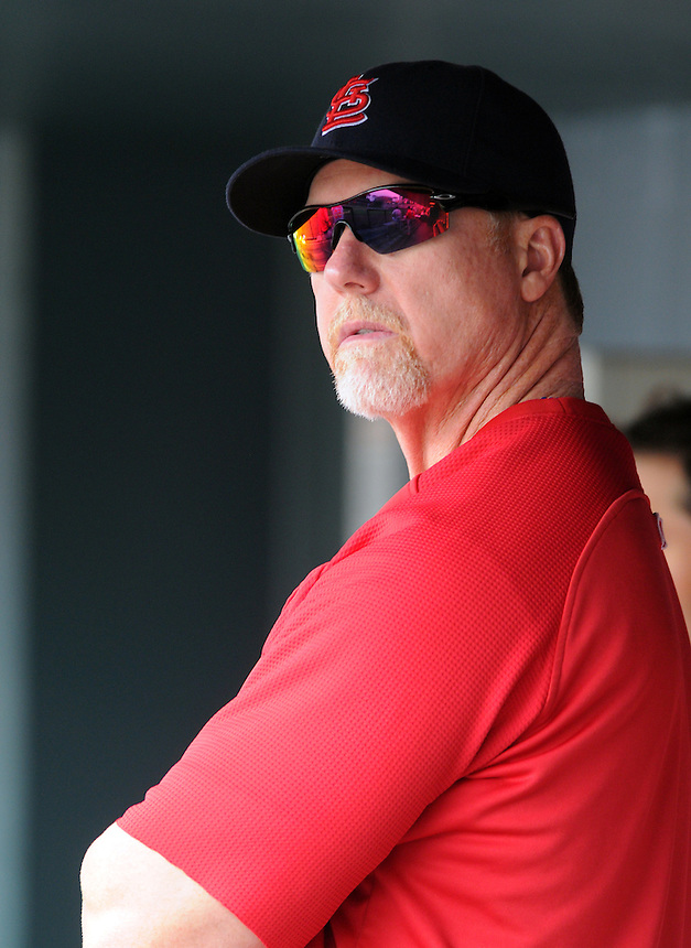 08 JULY 2010: St. Louis Cardinals hitting coach Mark McGwire in the dugout during a regular season Major League Baseball game between the Colorado Rockies and the St. Louis Cardinals at Coors Field in Denver, Colorado. The Rockies beat the Cardinals 4-2.  *****For Editorial Use Only*****