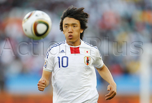 19 06 2010  Japan s Shunsuke Nakamura Runs with The Ball during The 2010 World Cup Group E Soccer Match Against Netherlands AT Moses Mabhida Stage in Durban South Africa ON June 19 2010