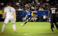 CARSON, CA - SEPTEMBER 21: Lassi Lappalainen #21of the Montreal Impact takes a shot during a game between Montreal Impact and Los Angeles Galaxy at Dignity Health Sports Park on September 21, 2019 in Carson, California.