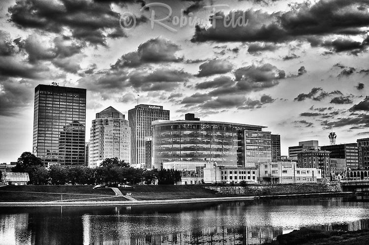 Dayton Ohio Skyline Black & white, soft with clouds