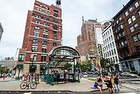 New York, NY 2015 - Franklin Street subway kiosk in the TriBeca neighborhood of Lower Manhattan