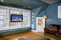 Motorized TV Lift With Lake Side Backdrop