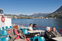 Switzerland, Ticino, Lugano: with a sightseeing boat across Lago Lugano | Schweiz, Tessin, Lugano: mit dem Ausflugsschiff ueber den Luganer See