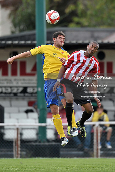 Chris O'Leary (Wealdstone, left) and Reiss Noel (Hornchurch). AFC Hornchurch Vs Wealdstone. Ryman Premier League. The Stadium. Essex. 24/09/2011. MANDATORY Credit Sportinpictures/Garry Bowden - NO UNAUTHORISED USE - 07837 394578