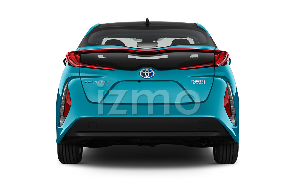 Straight rear view of a 2017 Toyota Prius Plug-in Hybride Solar 5 Door Hatchback stock images
