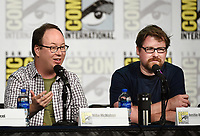 SAN DIEGO COMIC-CON© 2019: L-R: 20th Century Fox Television and Hulu's Solar Opposites Executive Producers Josh Bycel, Mike McMahan and Co-Creator/Executive Producer Justin Roiland during the SOLAR OPPOSITES panel on Friday, July 19 at the SAN DIEGO COMIC-CON© 2019. CR: Frank Micelotta/20th Century Fox Television