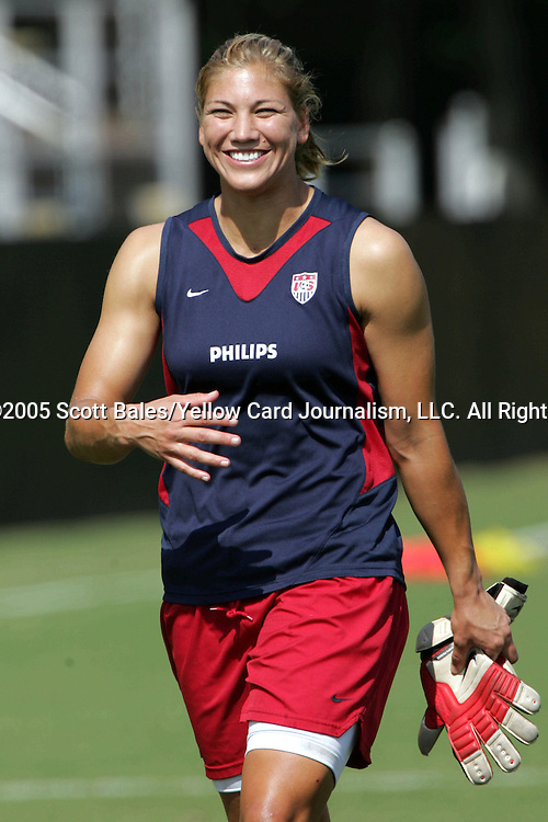 22 October 2005: US goalkeeper Hope Solo. The United States and Mexico Women's National Teams practiced at Blackbaud Stadium in Charleston, South Carolina before an International Friendly soccer match.