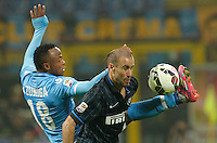 Camilo Zuniga  and  Rodrigo Palacio during the Italian serie A   soccer match between SSC Napoli and Inter    at  the San Siro    stadium in Milan  Italy , Octoberr 19 , 2014