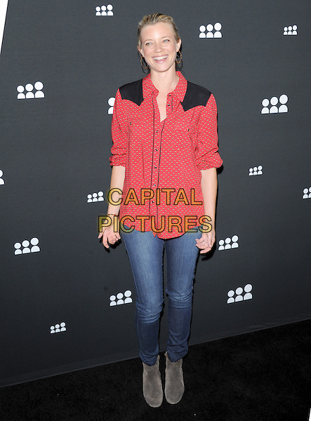 Amy Smart<br /> The Myspace Event held at The El Rey Theatre in Los Angeles, California, USA.<br /> June 12th, 2013   <br /> full length jeans denim red print shirt black  <br /> CAP/DVS<br /> &copy;DVS/Capital Pictures