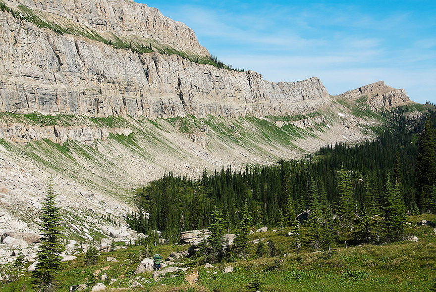 The Chinese Wall extends north to Larch Hill Pass in the Bob Marshall Wilderness.