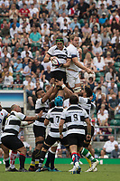 Twickenham, England, 27th May 2018. Quilter Cup, Rugby,Baa Baa's, Ultan DILLANE, win's the line out ball from Joe LAUNCHBURY's, challenge,  England vs Barbarians,    RFU. Stadium, Twickenham. UK.  <br /> <br /> &copy; Peter Spurrier/Alamy Live News
