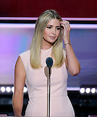 Ivanka Trump, Daughter of Donald Trump and EVP at the Trump Organization, introduces her father at the 2016 Republican National Convention held at the Quicken Loans Arena in Cleveland, Ohio on Thursday, July 21, 2016.<br /> Credit: Ron Sachs / CNP<br /> (RESTRICTION: NO New York or New Jersey Newspapers or newspapers within a 75 mile radius of New York City)
