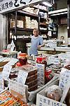 Tokyo, June 25 2013 - Seller at tsukiji fish market.