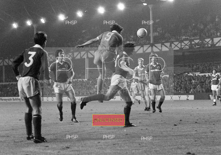 26/08/1980 Everton v Blackpool League Cup 2nd Round 1st Leg .Paul Fletcher powers in a header....© Phill Heywood.