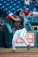 Will Banfield (18) of the Greensboro Grasshoppers at bat against the West Virginia Power at First National Bank Field on August 9, 2018 in Greensboro, North Carolina. The Power defeated the Grasshoppers 5-3 in game one of a double-header. (Brian Westerholt/Four Seam Images)