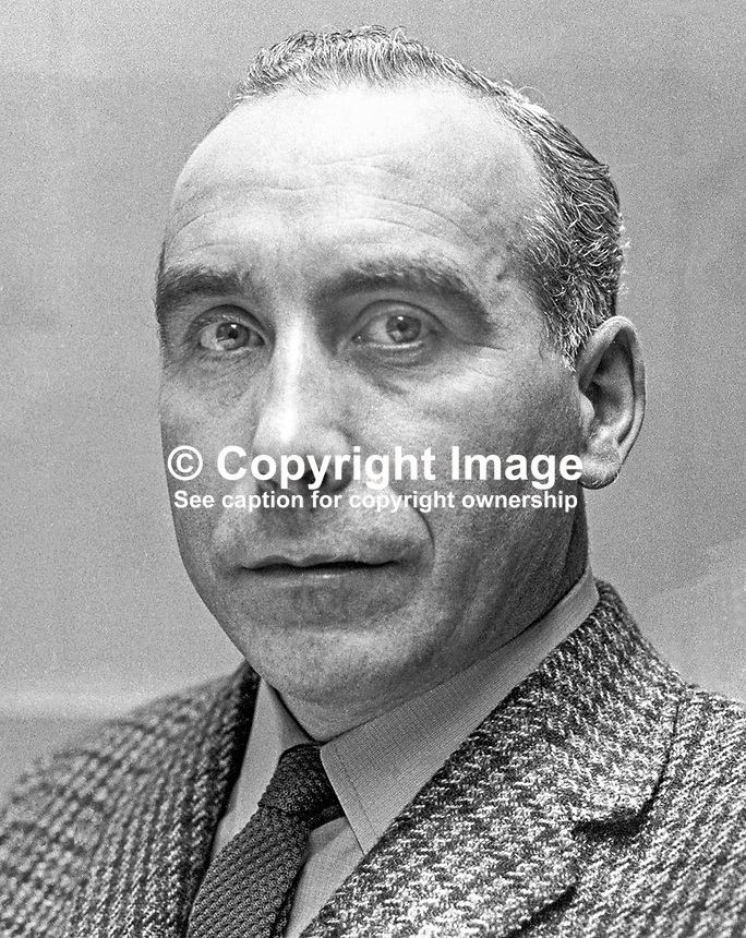 David Bleakley, N Ireland Labour Party, candidate, East Belfast, 1970 UK General Election. 197005000210d<br /> <br /> Copyright Image from Victor Patterson, 54 Dorchester Park, Belfast, UK, BT9 6RJ<br /> <br /> t1: +44 28 9066 1296 (from Rep of Ireland 048 9066 1296)<br /> t2: +44 28 9002 2446 (from Rep of Ireland 048 9002 2446)<br /> m: +44 7802 353836<br /> <br /> e1: victorpatterson@me.com<br /> e2: victorpatterson@gmail.com<br /> <br /> The use of my copyright images is subject to my Terms &amp; Conditions.<br /> <br /> It is IMPORTANT that you familiarise yourself with them. They are available on my website at www.victorpatterson.com.<br /> <br /> None of my copyright images may be used on a website unless they are visibly watermarked, i.e. &copy; Victor Patterson within the body of the visible image. Metadata denoting my copyright must NOT be deleted. <br /> <br /> Web use (maximum size - 400 kb) is extra at currently recommended NUJ rates.
