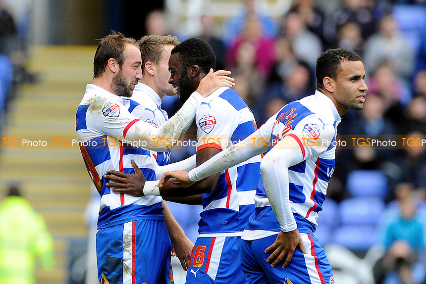 Glenn Murray of Reading left is congratulated by Hope Akpan of Reading after scoring - Reading vs Blackpool - Sky Bet Championship Football at the Madejski Stadium, Reading, Berkshire - 25/10/14 - MANDATORY CREDIT: Denis Murphy/TGSPHOTO - Self billing applies where appropriate - contact@tgsphoto.co.uk - NO UNPAID USE