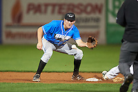 Hudson Valley Renegades shortstop Michael Russell (22) waits for a throw on a stolen base during a game against the Vermont Lake Monsters on September 3, 2015 at Centennial Field in Burlington, Vermont.  Vermont defeated Hudson Valley 4-1.  (Mike Janes/Four Seam Images)
