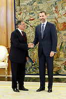Prince Felipe of Spain receives US Defense Secretary Leon Panetta at Zarzuela Palace. January 15, 2013. (ALTERPHOTOS/Caro Marin) /NortePhoto