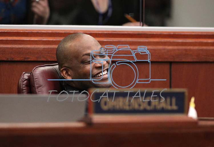 Nevada Assemblyman William Horne, D-Las Vegas, reacts to a birthday gift on the Assembly floor at the Legislature in Carson City, Nev. on Friday, Feb. 25, 2011..Photo by Cathleen Allison