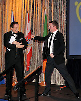 Marty Morrissey and Oliver Callon in jovial mood at the Bord G&aacute;is Energy Munster GAA Sports Star of the Year Awards in The Malton Hotel, Killarney on Saturday.  Picture by Don MacMonagle<br /> <br /> PR photo from Munster Council