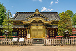 The entrance of Toshogu Shinto shrine located in Ueno, Tokyo, Japan. First established in 1627 by Tōdō Takatora and renovated in 1651 by Tokugawa Iemitsu, the shrine remains mostly intact since that time, making it a great example of Shinto architecture of the Edo period.