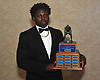 Gerard Smikle of Freeport, 2018 Piner Award recipient which is given annually to the top linebacker in Nassau County, poses for a portrait during the Nassau County Gridion Banquet at Crest Hollow Country Club in Woodbury on Wednesday, Dec. 5, 2018.