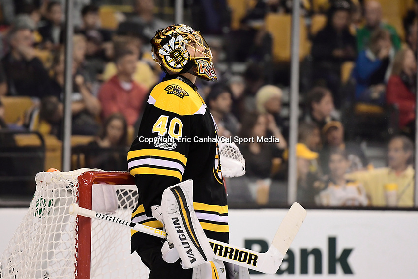 October 9, 2017: Boston Bruins goalie Tuukka Rask (40) watches a replay during the NHL game between the Colorado Avalanche and the Boston Bruins held at TD Garden, in Boston, Mass. Colorado defeats Boston 4-0. Eric Canha/CSM
