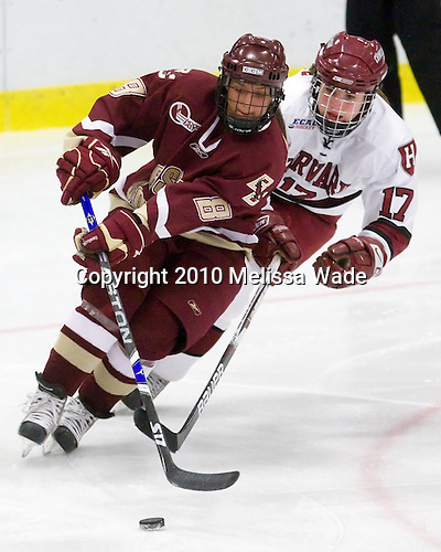 Allison Szlosek (BC - 8), Kaitlin Spurling (Harvard - 17) - The Harvard University Crimson defeated the Boston College Eagles 5-0 in their Beanpot semi-final game on Tuesday, February 2, 2010 at the Bright Hockey Center in Cambridge, Massachusetts.