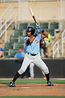 Leody Taveras (3) of the Hickory Crawdads at bat against the Kannapolis Intimidators in game one of a double-header at Kannapolis Intimidators Stadium on May 19, 2017 in Kannapolis, North Carolina.  The Crawdads defeated the Intimidators 5-4.  (Brian Westerholt/Four Seam Images)