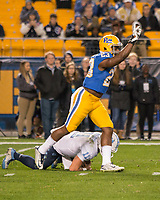 Pitt linebacker Oluwaseun Idowu (23) celebrates his quarterback sack. The North Carolina Tarheels defeated the Pitt Panthers football team 34-31 at Heinz Field, Pittsburgh, Pennsylvania on November 9, 2017.