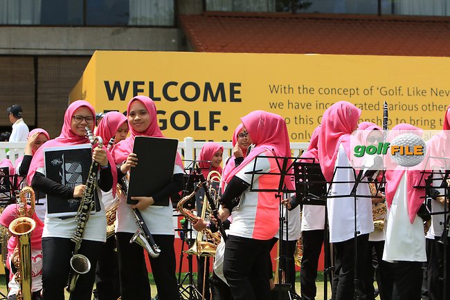 Some musical entertainment at the 18th green during Round 4 of the Maybank Championship on Sunday 12th February 2017.<br /> Picture:  Thos Caffrey / Golffile<br /> <br /> All photo usage must carry mandatory copyright credit     (&copy; Golffile | Thos Caffrey)
