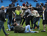 Manchester City fans invade the pitch during the premier league match at the Etihad Stadium, Manchester. Picture date 22nd April 2018. Picture credit should read: Simon Bellis/Sportimage