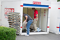 Workers take carpet from a storage pod to be installed in the White House West Wing in Washington, DC as it is undergoing renovations while United States President Donald J. Trump is vacationing in Bedminster, New Jersey on Friday, August 11, 2017.<br /> Credit: Ron Sachs / CNP /MediaPunch