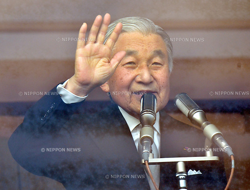 December 23, 2011, Tokyo, Japan - Japan's Emperor Akihito waves to well-wishers, who celebrate his 78th birthday, from a balcony of the Imperial Palace in Tokyo on Friday, December 23, 2011. (Photo by Natsuki Sakai/AFLO)