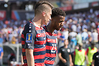 Nashville, TN - Saturday July 08, 2017: Jorge Villafaña and Kellyn Acosta during a 2017 Gold Cup match between the men's national teams of the United States (USA) and Panama (PAN) at Nissan Stadium.