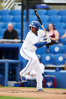 Dunedin Blue Jays shortstop Richard Urena (7) at bat during the first game of a doubleheader against the Palm Beach Cardinals on July 31, 2015 at Florida Auto Exchange Stadium in Dunedin, Florida.  Dunedin defeated Palm Beach 7-0.  (Mike Janes/Four Seam Images)